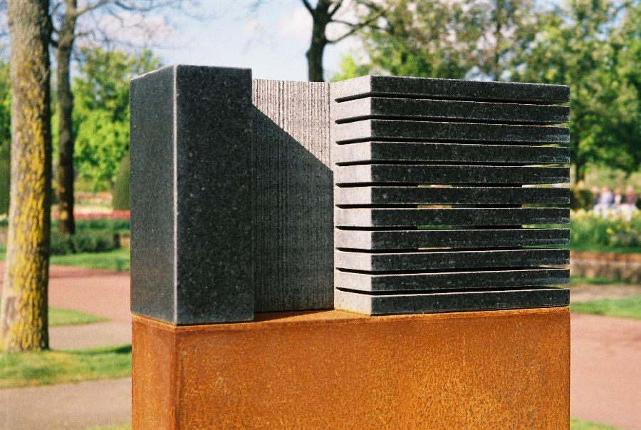 B070 zwart graniet, cortenstaal 32 x 10 x 136 cm